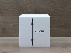 Square cake dummies with chamfered edges of 20 cm high
