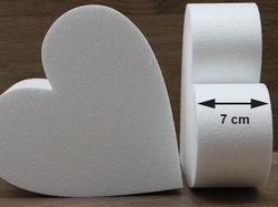 Heart Cake dummies with chamfered edges of 7 cm high
