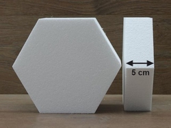 Hexagon cake dummies with chamfered edges of 5 cm high
