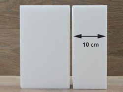 Oblong cake dummies with straight edges of 10 cm high