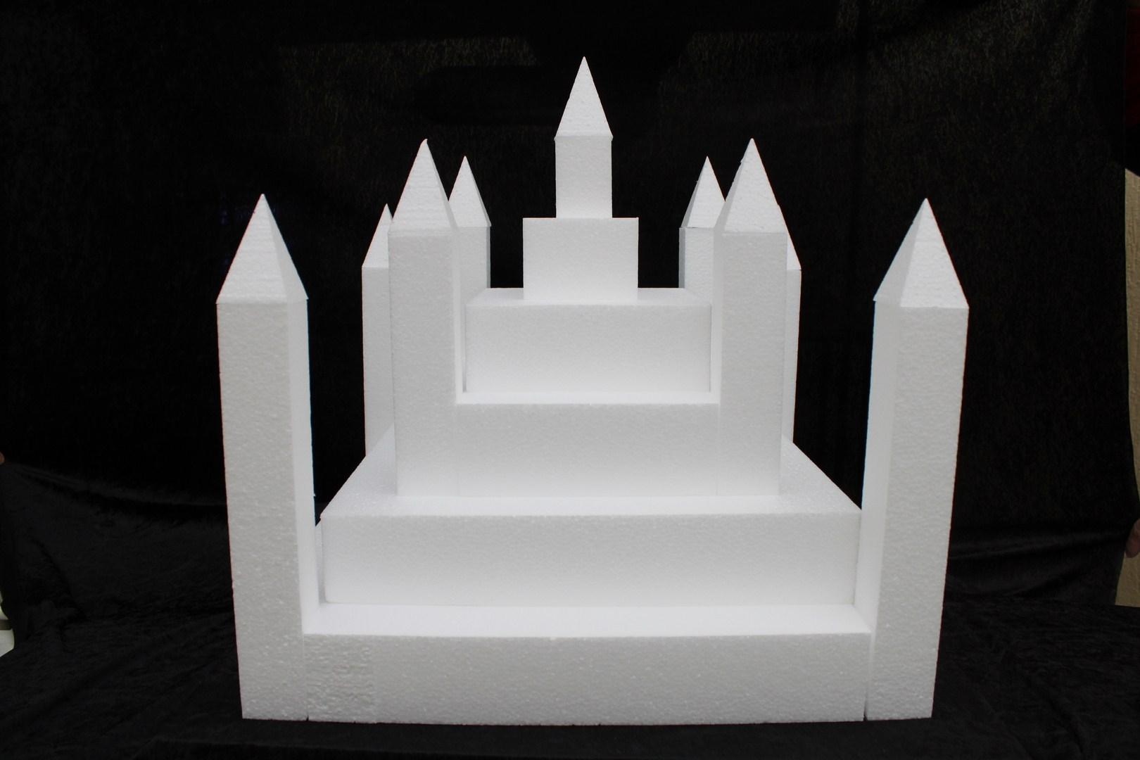 Kasteel 23 delig taartdummie set - 50 x 50 cm, 49 cm hoog