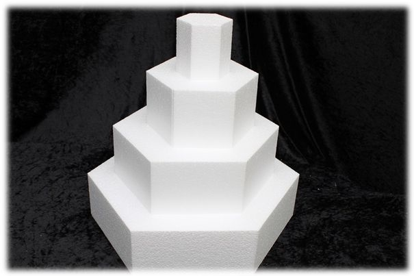 Hexagon cake dummies with straight edges of 10 cm high