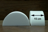 Half Round Cake dummies with straight edges of 15 cm high