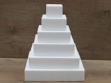 Square cake dummy set with straight egdes of 7 cm high