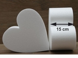 Heart cake dummies with straight edges of 15 cm high