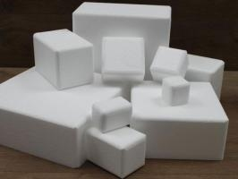 Square cake dummies with chamfered edges